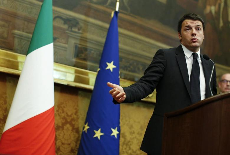 Italian Prime Minister-designate Matteo Renzi talks to reporters at the end of the consultations with leaders of Italian parties at the Parliament in Rome February 19, 2014. REUTERS/Tony Gentile