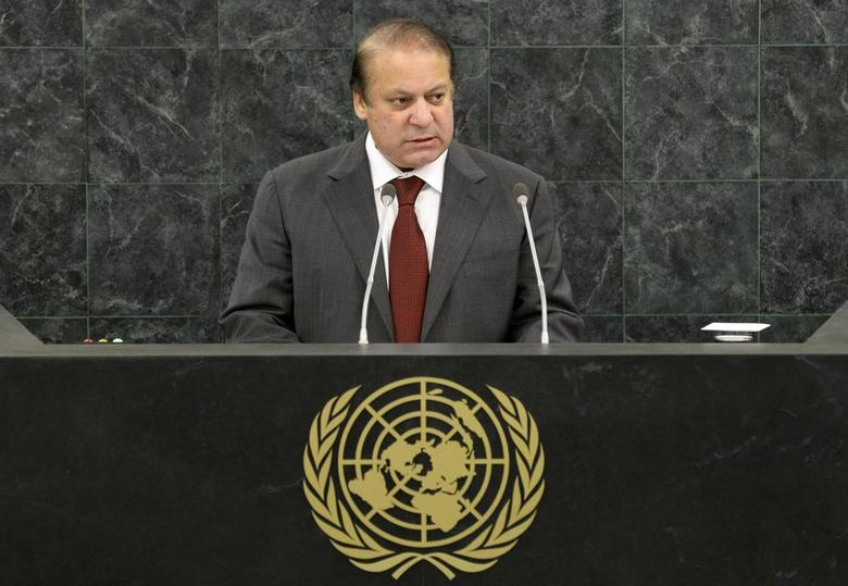 Pakistani Prime Minister Muhammad Nawaz Sharif addresses the 68th United Nations General Assembly at U.N. headquarters in New York, September 27, 2013. REUTERS/Andrew Burton/Pool