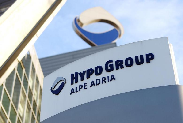 The logo of nationalised Hypo Alpe Adria is pictured at the bank's headquarters in Klagenfurt February 12, 2014. REUTERS/Heinz-Peter Bader