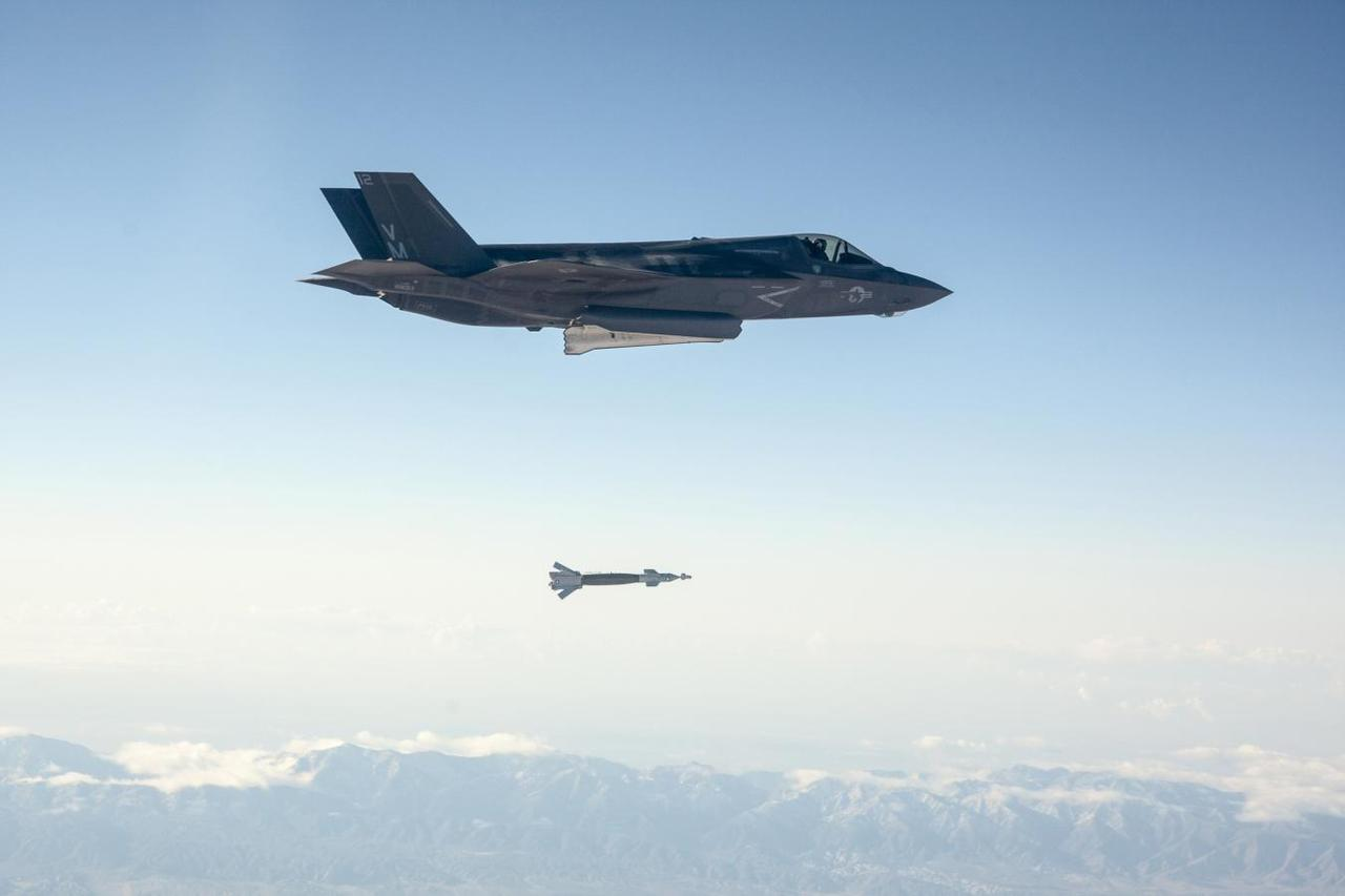 A US Marine Corps F 35B Short Take Off And Vertical Landing STOVL Fighter Jet Drops Laser Guided Bomb During Its First Weapons Release Test At