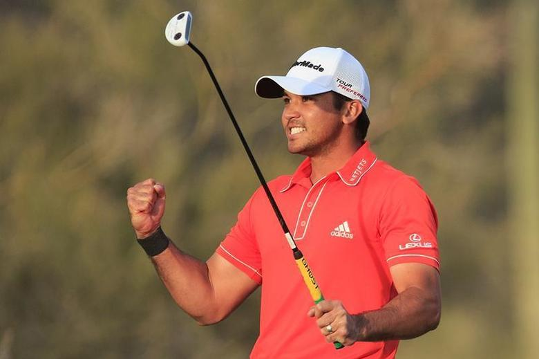 Feb 23, 2014; Marana, AZ, USA; Jason Day reacts after making a putt on the 23rd hole to beat Victor Dubuisson (not shown) during the final round of the World Golf Championships - Accenture Match Play Championship at The Golf Club at Dove Mountain. Mandatory Credit: Allan Henry-USA TODAY Sports