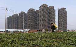 La hausse des prix de l'immobilier a ralenti en Chine en janvier pour la première fois en 14 mois, ce qui laisser penser que la bataille engagée par le gouvernement contre la spéculation depuis quatre ans commence à porter ses fruits. /Photo prise le 23 février 2014/REUTERS/William Hong