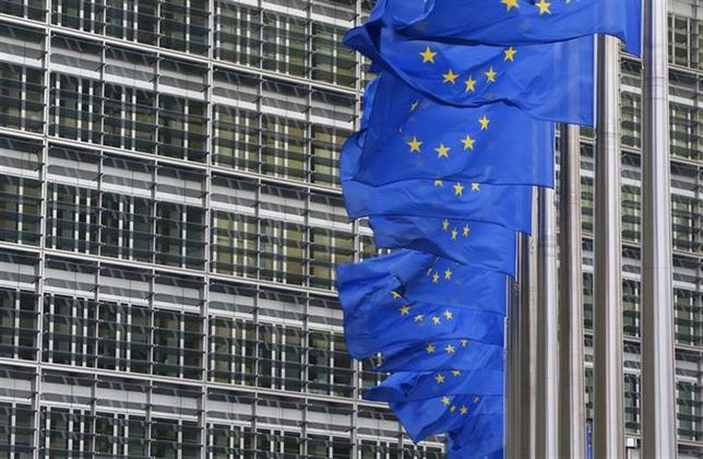 2月24日、EUはウクライナへの支援を調整するため、日本や米国、中国、カナダ、トルコと連絡を取った。写真はブリュッセルの欧州委本部前で1月撮影(2014年 ロイター/Yves Herman)