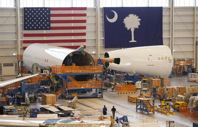 Sections of a 787 Dreamliner being built for Air India are seen at Boeing's final assembly building in North Charleston, South Carolina December 19, 2013. REUTERS/Randall Hill/Files
