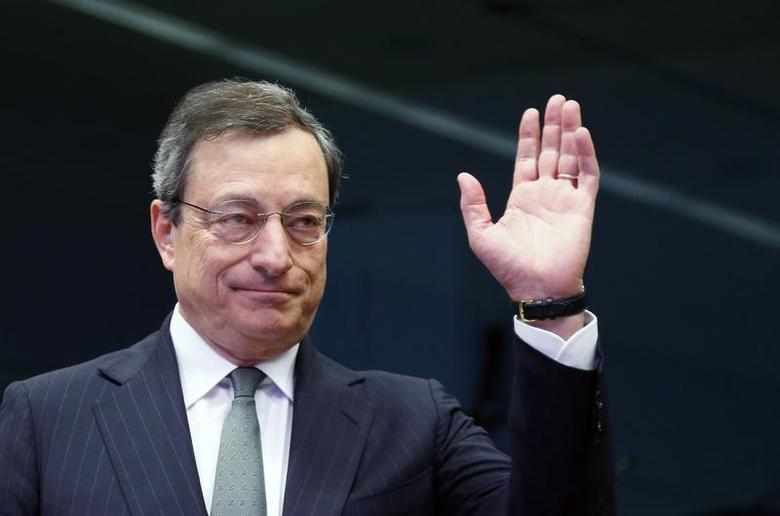 European Central Bank (ECB) President Mario Draghi waves as he arrives at an eurozone finance ministers meeting in Brussels February 17, 2014. REUTERS/Francois Lenoir