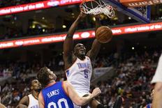 Oklahoma City Thunder center Kendrick Perkins (5) dunks during the first quarter against the Philadelphia 76ers at the Wells Fargo Center. Mandatory Credit: Howard Smith-USA TODAY Sports