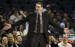 Kiki Vandeweghe questions a call against the Charlotte Bobcats during an NBA basketball game in Charlotte, North Carolina February 16, 2010. REUTERS/Chris Keane