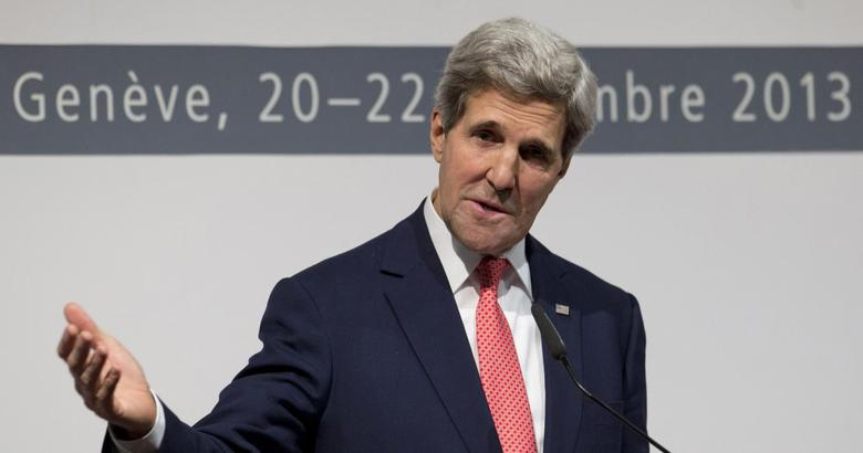 U.S. Secretary of State John Kerry speaks to the media about the deal that has been reached between six world powers and Iran at the International Conference Centre of Geneva in Geneva November 24, 2013. REUTERS/Carolyn Kaster/Pool