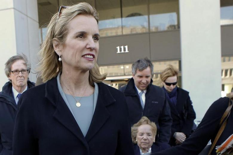 Kerry Kennedy, (2nd L) daughter of assassinated Senator Robert F. Kennedy and ex-wife of New York Governor Andrew Cuomo, exits the Westchester County Courthouse in White Plains, New York, next to her mother, Ethel Kennedy (bottom), and her brother, Douglas Harriman Kennedy (C), February 24, 2014. REUTERS/Eduardo Munoz