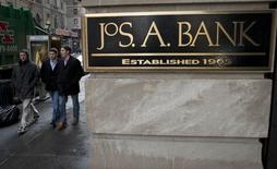 A sign for clothing retailer Jos. A. Bank is pictured in the Manhattan borough of New York February 14, 2014. REUTERS/Carlo Allegri