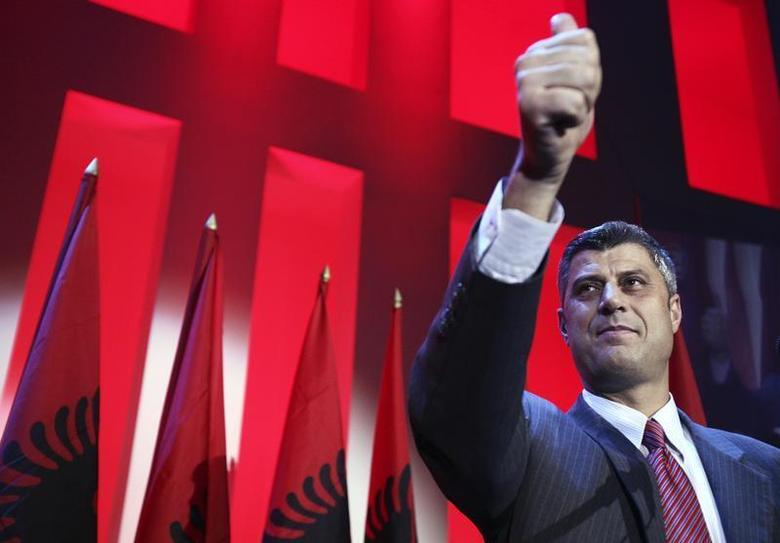 Hashim Thaci, head of the Democratic Party (PDK), gestures to party supporters after claiming victory in Kosovo's parliamentary election in Pristina in the early hours of November 18, 2007. REUTERS/Hazir Reka