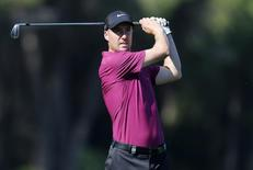 Ross Fisher of Britain plays a shot on the sixth hole during the third round of the inaugural Turkish Airlines Open in the southwest city of Antalya November 9, 2013. REUTERS/Umit Bektas