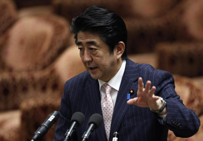 Japan's Prime Minister Shinzo Abe speaks during a lower house budget committee session at the parliament in Tokyo February 20, 2014. REUTERS/Yuya Shino