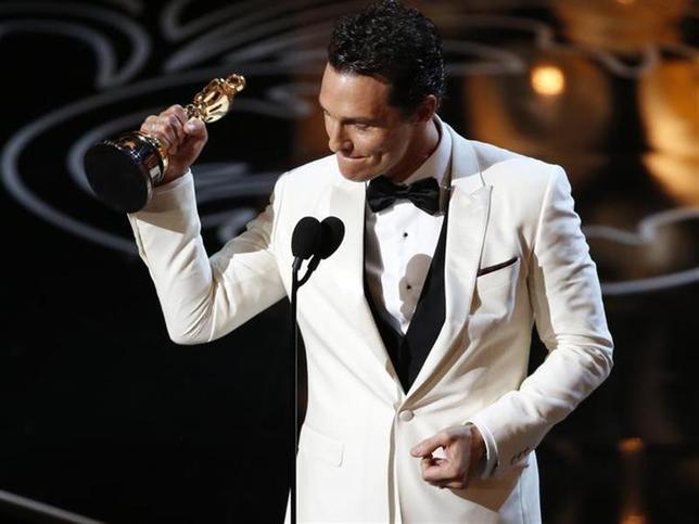 3月2日、第86回米アカデミー賞の授賞式がロサンゼルスで開催され、主演男優賞は映画「ダラス・バイヤーズクラブ」のマシュー・マコノヒーが受賞(2014年 ロイター/Lucy Nicholson)