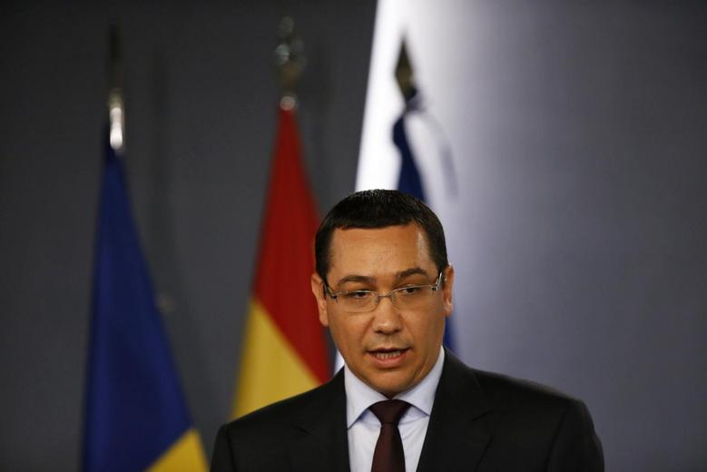 Romanian Prime Minister Victor Ponta speaks during a joint news conference with his Spanish counterpart Mariano Rajoy (unseen), after their meeting at Moncloa Palace in Madrid July 22, 2013. REUTERS/Juan Medina