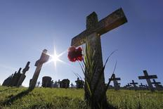 """Graves are seen at the Silberloch World War One Military cemetery at the Vieil Armand """"Hartmannswillerkopf"""" in the Alsace region in this November 13, 2013 file photo where around 30,000 French and German soldiers died in the Vosges mountain battles in 1915. REUTERS/Jacky Naegelen/Files"""