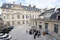 A general view shows journalists attending a press visit during the renovation of the Hotel Sale known as the Picasso Museum in the Marais district of Paris, March 4, 2014. REUTERS/Charles Platiau