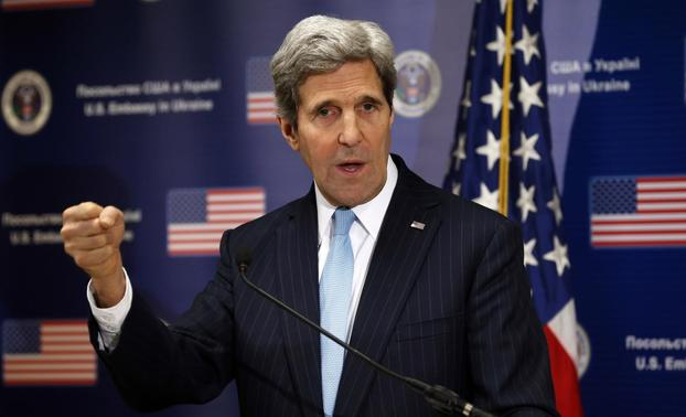 U.S. Secretary of State John Kerry speaks during a news conference at the U.S. Embassy in Kiev March 4, 2014. REUTERS-Kevin Lamarque-Pool