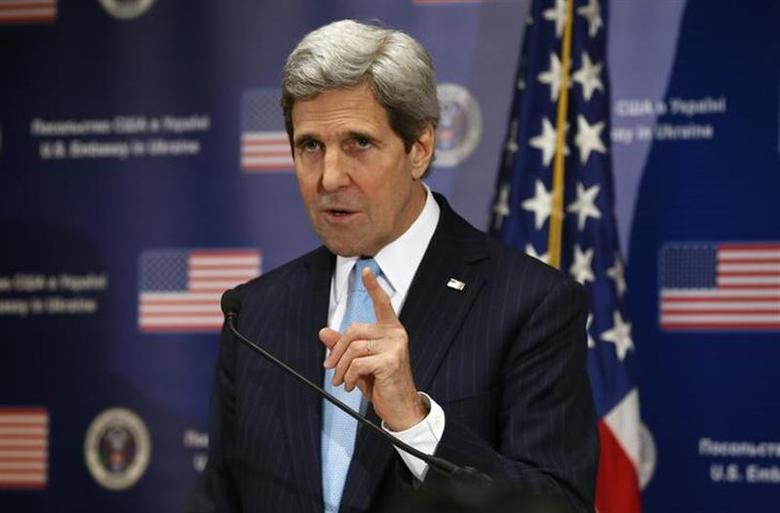 U.S. Secretary of State John Kerry speaks during a news conference at the U.S. Embassy in Kiev March 4, 2014. REUTERS/Kevin Lamarque/Pool