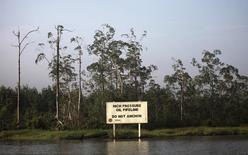 Предупреждающий щит компании Royal Dutch Shell вдоль течения реки Нембе в нигерийском штате Байельса 2 декабря 2012 года. Сырьевой трейдер Glencore подтвердил интерес к приобретению активов нефтяной компании Shell в Нигерии. REUTERS/Akintunde Akinleye