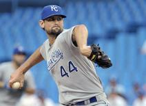 Kansas City Royals pitcher Luke Hochevar throws against the Toronto Blue Jays during the second inning of their MLB American League baseball game in Toronto July 5, 2012. REUTERS/Mike Cassese