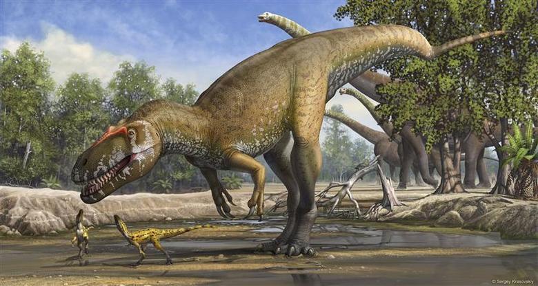 A Torvosaurus gurneyi dinosaur is seen in an undated artist's rendering released March 5, 2014. REUTERS/Sergey Krasovskiy/Handout via Reuters