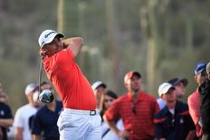 Jason Day plays the 22nd hole during the final round of the World Golf Championships - Accenture Match Play Championship at The Golf Club at Dove Mountain. Mandatory Credit: Allan Henry-USA TODAY Sports