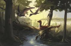 A reconstruction of the Daohugou fauna in northeastern China during the Jurassic Period, featuring feathered dinosaurs, pterosaurs, early mammals and amphibians is pictured in this handout artist's illustration obtained by Reuters March 6, 2014. REUTERS/Copyright Julia Molnar 2013/Handout via Reuters