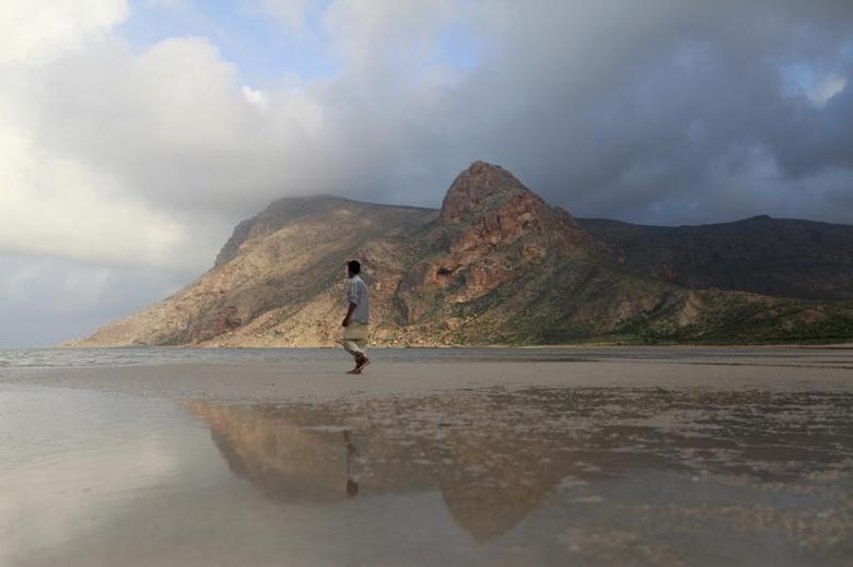 A local guide walks on the approach to Ditwa lagoon and beach near the port of Qalensiya, the second biggest town on Yemen's Socotra island November 21, 2013. REUTERS/Mohamed al-Sayaghi
