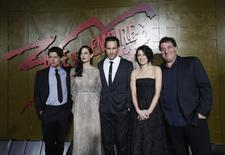 """Director of the movie Noam Murro (R) poses with cast members (from L-R) Jack O'Connell, Eva Green, Callan Mulvey and Lena Headey at the premiere of """"300: Rise of an Empire"""" in Hollywood, California March 4, 2014. The movie opens in the U.S. on March 7. REUTERS/Mario Anzuoni"""