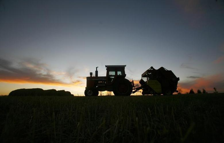 A tractor is silhouetted on a hillside in Prairie City, Iowa, November 16, 2007. REUTERS/Shannon Stapleton