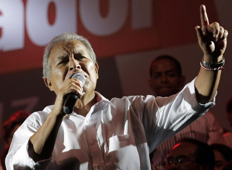 Salvador Sanchez Ceren, the presidential candidate for the Farabundo Marti National Liberation Front (FMLN), gives a speech to his supporters, after the official election results were released, in San Salvador March 9, 2014. REUTERS/Henry Romero