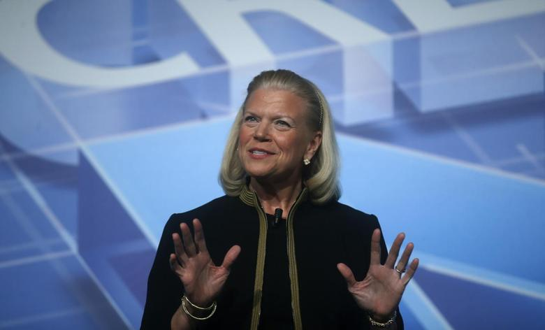 IBM Chairwoman and CEO Virginia ''Ginni'' Rometty delivers a keynote speech at the Mobile World Congress in Barcelona February 26, 2014. REUTERS/Albert Gea