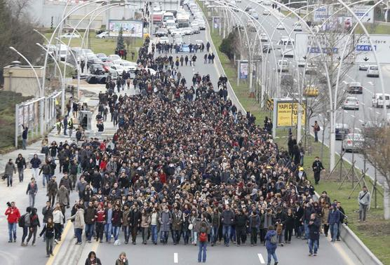 Middle East Technical University (ODTU) students march along a main highway to protest the death of Berkin Elvan in Ankara March 11, 2014. REUTERS-Umit Bektas