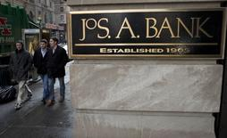 A sign for clothing retailer Jos. A. Bank is pictured in the Manhattan borough of New York in this file photo taken February 14, 2014. REUTERS/Carlo Allegri/Files