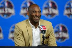 Feb 16, 2014; New Orleans, LA, USA; Los Angeles Lakers guard Kobe Bryant speaks during a press conference before the 2014 NBA All-Star Game at the Smoothie King Center. Mandatory Credit: Bob Donnan-USA TODAY Sports - RTX18YON