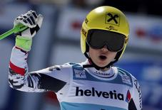 Anna Fenninger of Austria reacts after competing in the women's Super G competition during the FIS Alpine Skiing World Cup finals in the Swiss ski resort of Lenzerheide March 13, 2014. REUTERS/Leonhard Foeger