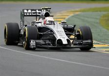 McLaren Formula One driver Kevin Magnussen of Denmark takes a corner during the qualifying session for the Australian F1 Grand Prix at the Albert Park circuit in Melbourne March 15, 2014. REUTERS/Brandon Malone