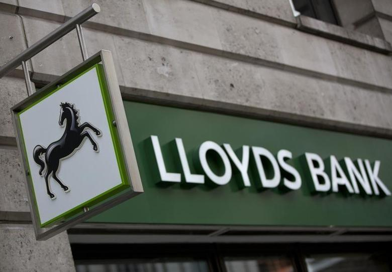 A sign is seen outside a branch of Lloyds Bank in the City London February 3, 2014. REUTERS/Neil Hall