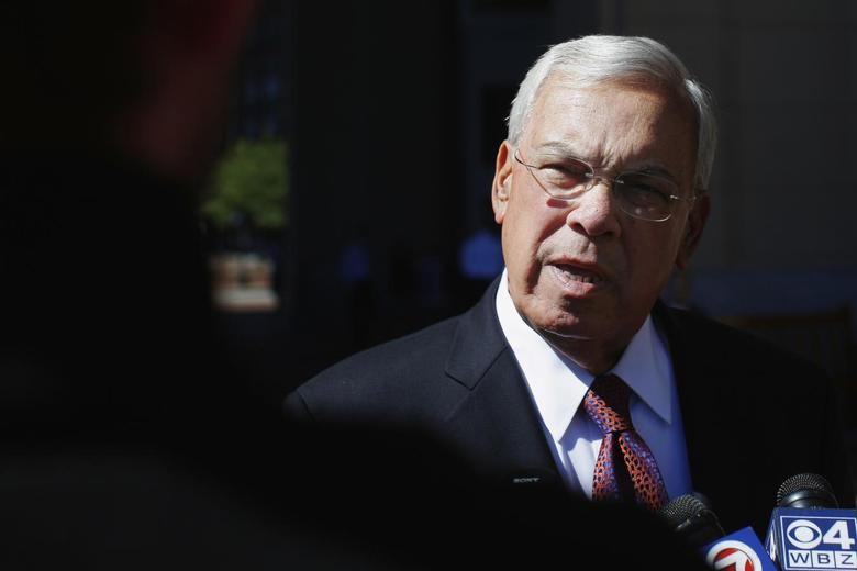 Boston Mayor Tom Menino talks to reporters as he arrives for the Boston College Chief Executives' Club of Boston luncheon in Boston, Massachusetts September 25, 2013, one day after the preliminary runoff to elect a new mayor to succeed Menino who said he would not seek an unprecedented sixth term in office in this file picture. REUTERS/Brian Snyder