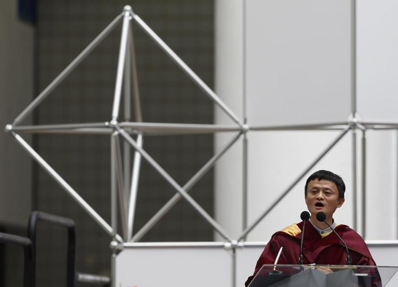 Jack Ma, the billionaire founder of Chinese ecommerce giant Alibaba Group, delivers a speech after he received an honorary doctorate on business administration at the University of Hong Kong of Science and Technology in Hong Kong November 8, 2013 file photo. REUTERS/Bobby Yip