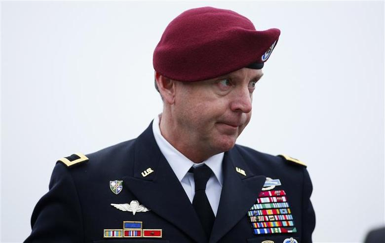 U.S. Army Brigadier General Jeffrey Sinclair arrives at the courthouse at Fort Bragg in Fayetteville, North Carolina March 18, 2014. REUTERS/Chris Keane