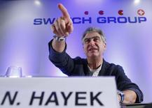 Nick Hayek, directeur général de Swatch Group. Le numéro un mondial de l'horlogerie s'attend à une hausse de ses ventes cette année, en monnaie locale, en Chine. /Photo prise le 20 mars 2014/REUTERS/Denis Balibouse