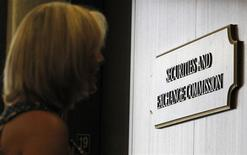 The Securities and Exchange Commission logo in Fort Worth, Texas June 28, 2012. REUTERS/Mike Stone