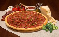 """A jalapeno-topped pizza called """"La Chingona"""" is seen in an undated handout photo courtesy of Pizza Patron. REUTERS/Courtesy of Pizza Patron/Handout via Reuters"""
