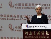 International Monetary Fund (IMF) Managing Director Christine Lagarde makes a speech during the China Development Forum in Beijing March 23, 2014. REUTERS/Kim Kyung-Hoon