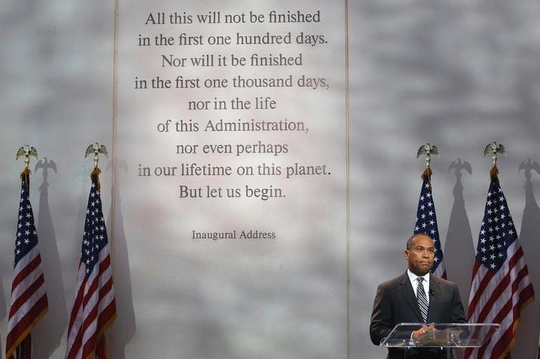 Massachusetts Governor Deval Patrick requests a moment of silence during a ceremony to commemorate the 50th anniversary of the assassination of U.S. President John F. Kennedy at the John F. Kennedy Library and Museum in Boston, Massachusetts November 22, 2013. REUTERS/Brian Snyder