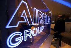 The logo of Airbus Group is seen at the entrance of a news conference to announce the Airbus Group 2013 annual results in Toulouse February 26, 2014. REUTERS/Regis Duvignau