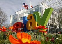 La casa matriz de eBay en San José, EEUU, feb 25 2010. EBay instó a sus accionistas a votar en contra de la propuesta del inversor activista Carl Icahn de separar la unidad de pagos PayPal de la compañía de comercio electrónico. REUTERS/Robert Galbraith