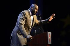 Feb 16, 2014; New Orleans, LA, USA; NBA legend Shaquille O'Neal speaks as he honored as the Legend of the Year during the 2014 NBA All-Star Game Legends Brunch at Ernest N. Morial Convention Center. Bob Donnan-USA TODAY